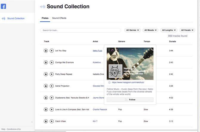 Caracteristicas Facebook Sound Collection